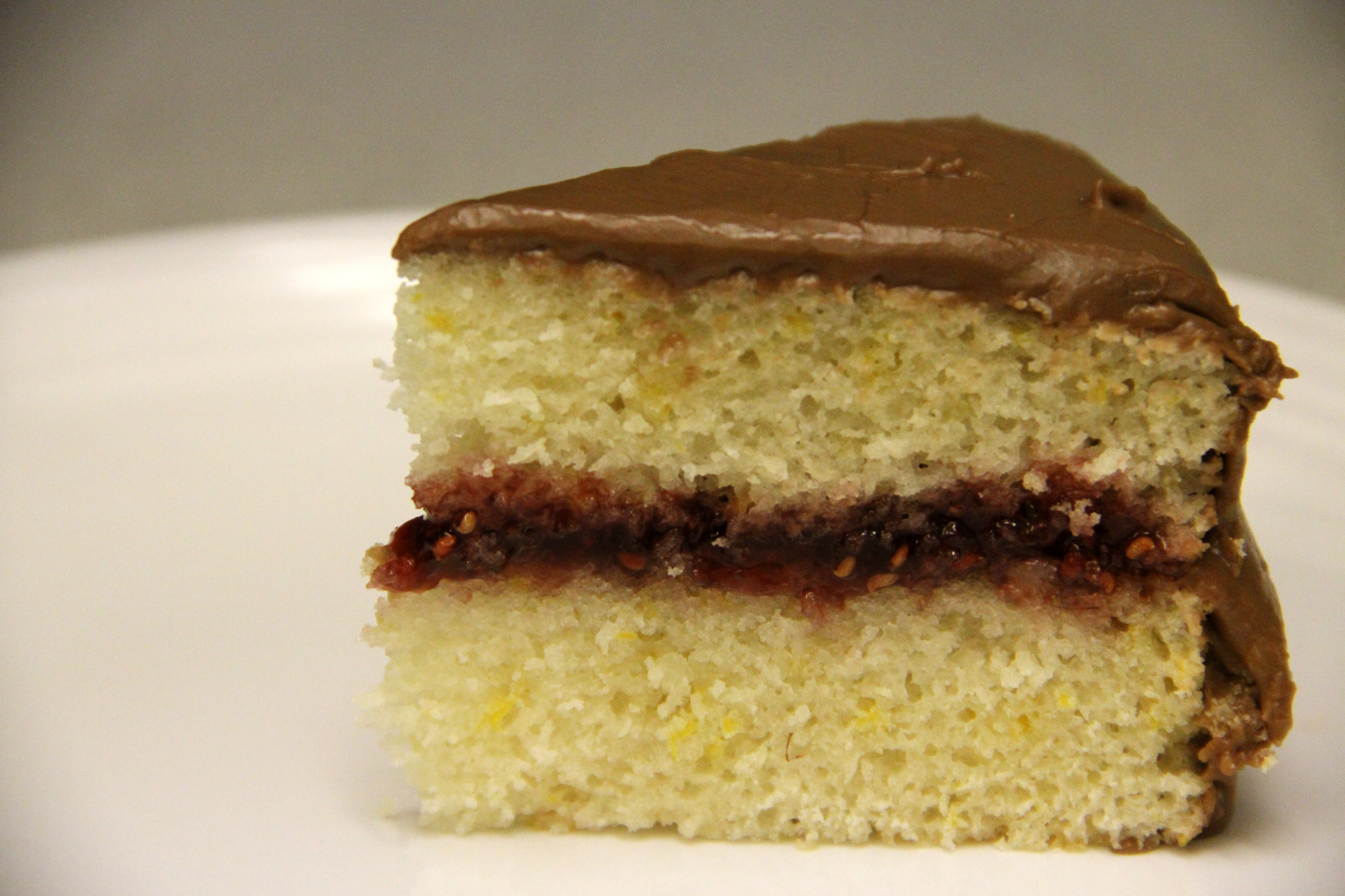 Lemon Cake With Raspberry Filling And Chocolate Frosting